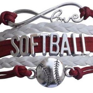 Girls Softball Bracelet - Maroon & White